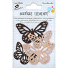 Little Birdie Laser Cut Butterflies Clay Caramel 4pcs Boutique