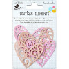 Little Birdie Laser Cut Deco Hearts Raspberry Ice 4pcs Boutique