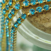 2,7mm Rhinestone Crystal Cup Chain - Light Blue Gold