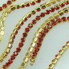 2,7mm Rhinestone Crystal Cup Chain - Red Gold